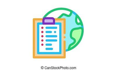 worldwide financial partnership Icon Animation. color worldwide financial partnership animated icon on white background