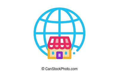 worldwide franchise Icon Animation. color worldwide franchise animated icon on white background