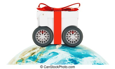 Worldwide gift delivery concept, animation. 3D rendering isolated on white background