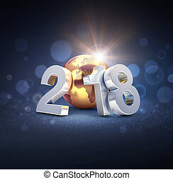Worldwide greeting symbol for 2018 New Year card