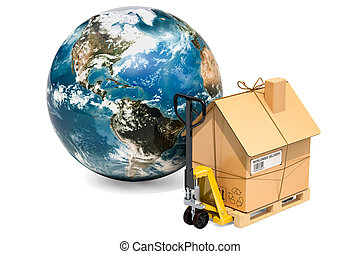 Worldwide household moving services concept. Hydraulic hand pallet truck with cardboard house parcel and Globe Earth, 3D rendering3D rendering