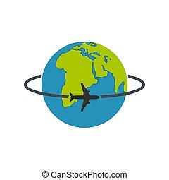 Worldwide icon, flat style.