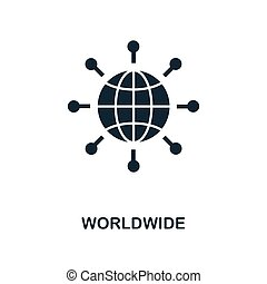 Worldwide icon. Monochrome style design from business icon collection. UI. Pixel perfect simple pictogram worldwide icon. Web design, apps, software, print usage.
