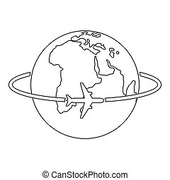 Worldwide icon, outline style.