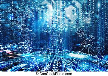 Worldwide internet network concept