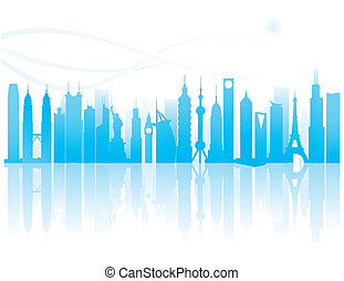 worldwide landmarks silhouette - the worldwide landmarks...