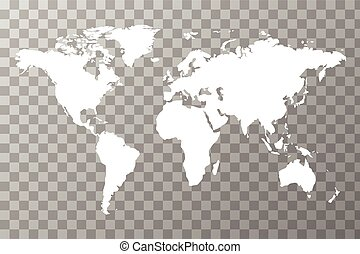 Detailed white worldwide map on transparent background