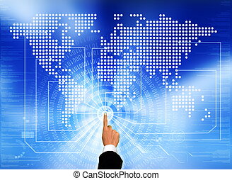 Worldwide Network - a businessman's hands touching the ...