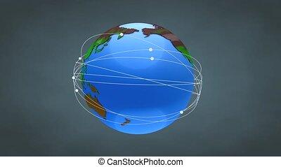 Worldwide network. With alpha matte.