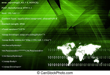 Worldwide Network Media in a Green Abstract