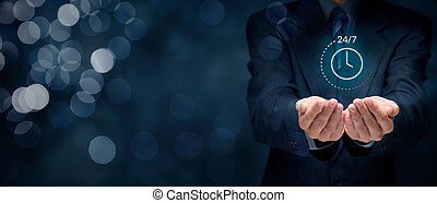 Worldwide nonstop (full time, 24/7) service concept. Businessman hand with symbol of on worldwide 24/7 service.