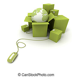 Worldwide online shipping in green