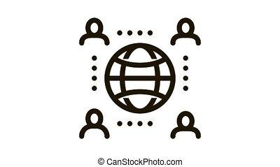 worldwide outsource employees Icon Animation. black worldwide outsource employees animated icon on white background