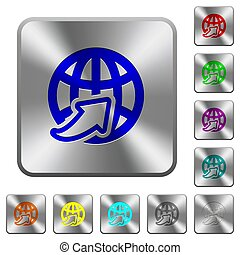 Worldwide rounded square steel buttons