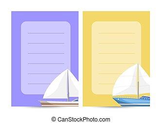 Worldwide sailing card with sailboats