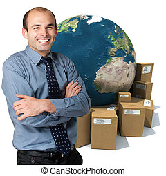 Worldwide service - Young man and a world globe surrounded...