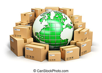 Worldwide shipping and ecology concept - Creative abstract...