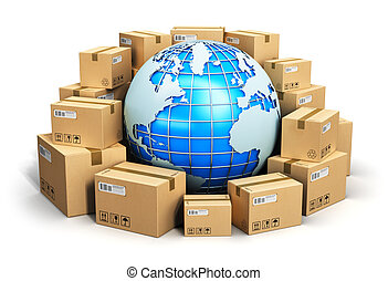 Creative abstract global logistics, shipping and worldwide delivery business concept: blue Earth planet globe surrounded by heap of stacked corrugated cardboard boxes with parcel goods isolated on white background