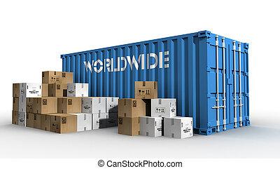 worldwide shipping concept illustration