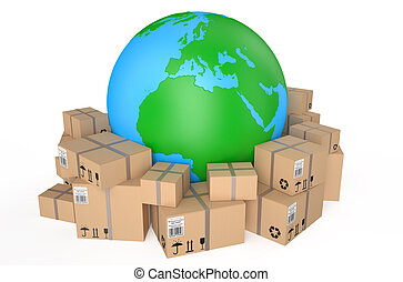 Worldwide shipping concept isolated on white background