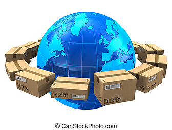 Worldwide shipping concept: row of cardboard boxes around blue Earth globe isolated on white background *** All text labels, numbers and barcodes on cardboard boxes are absolutely fictional