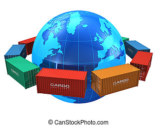 Worldwide shipping concept: row of color cargo containers around the blue Earth globe isolated on white background *** All text labels and numbers on cargo containers are absolutely fictional