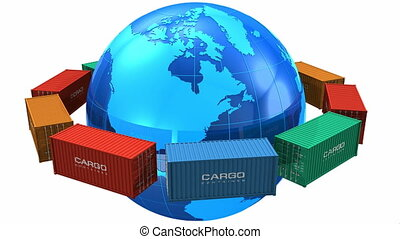 Worldwide shipping concept: seamless loop video of row of color cargo containers around the blue Earth globe isolated on white background *** All text labels and numbers on cargo containers are absolutely fictional and added just to improve photorealistic look of this 3D rendered footage