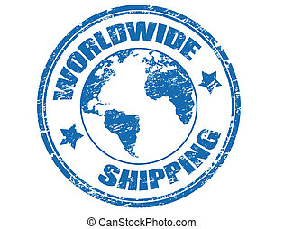 Grunge rubber stamp with a earth globe mape and the text worldwide shipping written inside the stamp, vector illustration