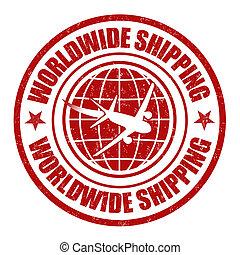 Worldwide shipping grunge rubber stamp on white, vector illustration