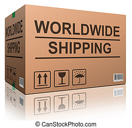 worldwide shipping web shop icon concept for shipping online shopping order global cardboard box with text package delivery ecommerce