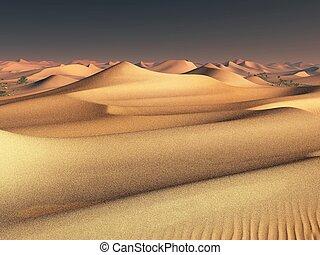 worldwide temperature change idea. solitary sand dunes under...