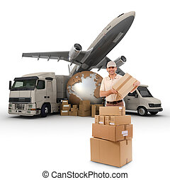 A messenger with a world map, packages, a van, a truck and an airplane as background