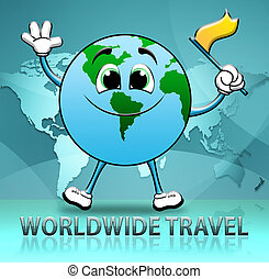 Worldwide Travel Indicates Touring Roam 3d Illustration -...