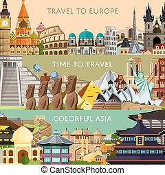 Worldwide travel horizontal flyers with famous architectural attractions. Travel to Europe. Colorful asia. Time to travel. Discover world concept. Historical cityscape. Modern and ancient architecture