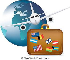 worldwide travel symbol - illustration to depict worldwide...
