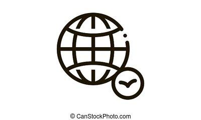 Worldwide Watching Bird Icon Thin Line . Earth Globe And Bird, International Travel For Watch Flight Animal animated icon on white background