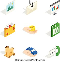 Worldwide web icons set, isometric style - Worldwide web...