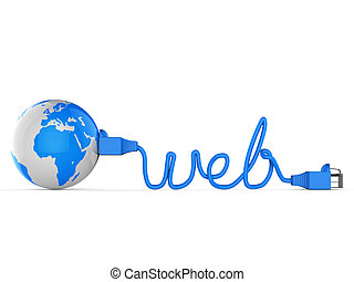 Worldwide Web Represents Globe Searching And Net - Worldwide...