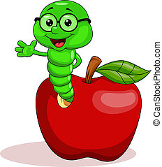 Vector illustration of worm and apple