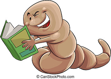 worm book - giant happy worm readin a green book