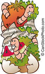 Vector Illustration of a worm composting system (food waste, newspaper, live worms, soil).