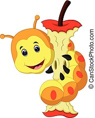 Worm eating apple cartoon - Worm eating red apple cartoon