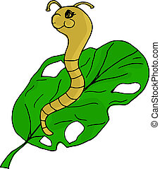 worm  - hand drawn illustration of a worm on a leaf, Doodle