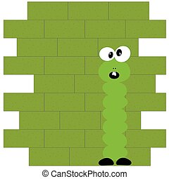 worm front of brick wall green vector