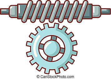 Worm gear icon, cartoon style.