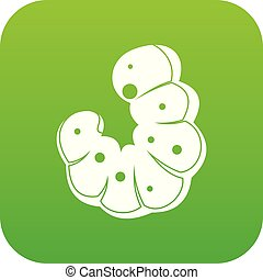 Worm icon digital green for any design isolated on white ...