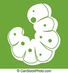 Worm icon green - Worm icon white isolated on green ...