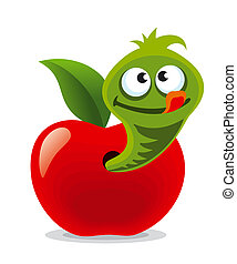 Funny Worm And Apple Funny Worm And Apple As An Animal Character