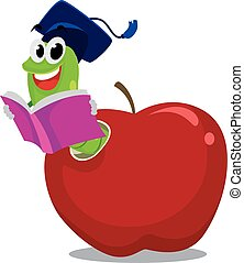 Worm in Apple with graduation hat - Vector Illustration of...
