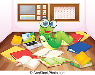 illustration of a worm enjoying in classroom